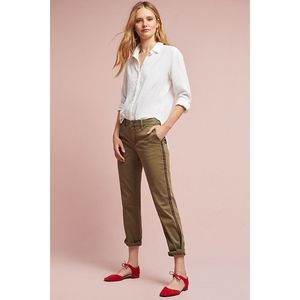 Chino by Anthropologie olive striped skinny chinos